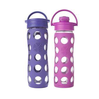Harga Lifefactory Glass Bottle - Bundle - 16oz (465ml) Classic Cap (Royal Purple) & 16oz (465ml) Flip Cap (Huckleberry)