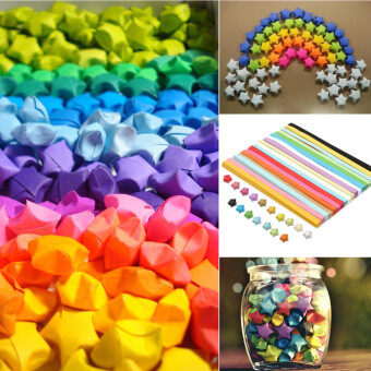 Harga 80Pcs Cute Folding Kit Lucky Origami Wish Star Paper Strips Papers Crafts Gift Ten Colors