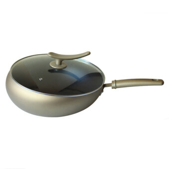 Harga NaVa High Quality Non Stick 34cm Stir FLY Terbang Pan Wok with Tempered Glass Cover