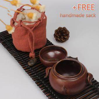 Harga Tea Sets Chinese Kung Fu Tea Set Ceramic Teapot Tea Cup Portable Travel Tea Set(Brown)
