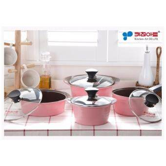 Harga Kitchen Art Korean Best-Selling New Opera Compact Ceramic Coating 4 Pots Set - Pink Edition. 16 cm + 16 cm + 20 cm + 20 cm