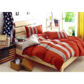 Harga Striped Bedding Set - King (Fitted Sheet, Comforter, Comforter Cover, Pillow Cases & Bolster cover)