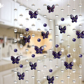 Harga Gracefulvara 3.3FT Crystal Butterfly Curtains Beads Window Door Curtain Passage Backdrop Wedding - Violet