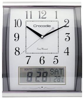 Harga CROCODILE Analog digital wall clock CWD0527FMKS (White dial with silver case)