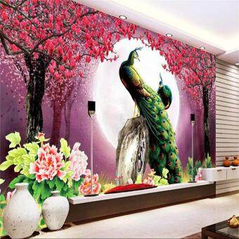 Harga Eco-friendy Custom Eco-friendly 3D wallpaper living room Modern Peacock Moon Flowers Restaurant Hotel Arts Study mural murals-3d wall papers home decor