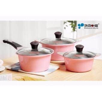 Harga Kitchen Art Korean Best-Selling Juliet Ceramic Coating 3 Pots Set - Pink Edition. 16 cm + 18 cm + 20 cm