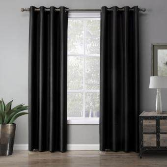 Harga Modern Solid color Black Blackout Curtain Window Curtains for Living Room and Bedroom 140cmx220cm