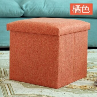 Harga Anjo Foldable Storage Ottoman Fabric Foot Stool Seat Footrest Folding Storage Box (Orange)