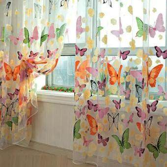 Harga Moonar Floral Butterfly Print Sheer Curtains Sheers Voile Tulle Window Curtain