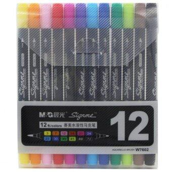 Harga Cheng Guang Art and Graphic Drawing Manga Water Based Ink Twin Tip Dual Nip Brush Sketch Marker Pen 12 Colors /SET
