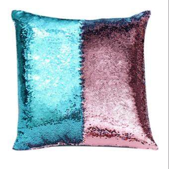 Harga Magic Reversible Mermaid Sequin Cushion Glitter Cover Throw Pillow Case Two - color sequins pillow sets of embroidered, Peacock green&rose gold