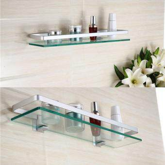 Harga Details about Glass Bathroom Shelf Rectangle Chrome Luxury Wall Mounted