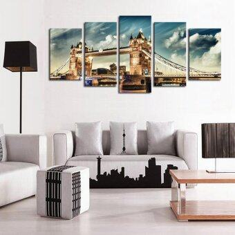 Harga Unique 5 Panels (No Frame) Canvas Wall Art London Bridge Landscape Pictures Paint on Canvas Painting for Home Kitchen Decorative