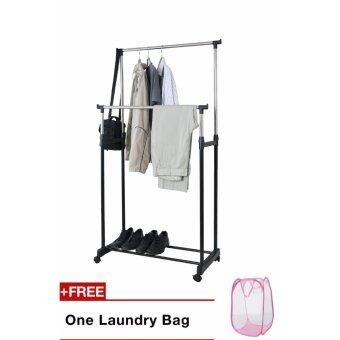 Harga Fujicom Height Adjustable Double Garment Rack with Free laundry Bag