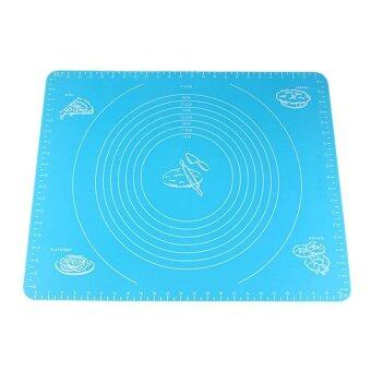 Harga Blue 50*40cm Silicone Mat Baking Cake Dough Fondant Rolling Kneading Mat Baking Mat with Scale Cooking Plate Kitchen Tools