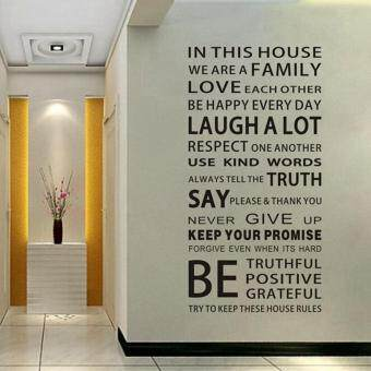 Harga Removable We Are Family Motto Nursery Bathroom Kitchen Bedroom Dining Room Living Room Mirror Office Dorm Home DIY Modern Art Wall Decor Stickers