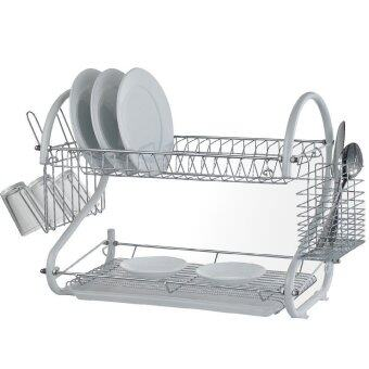 Harga Double Layer Dish Drainer Dish Rack (Silver)