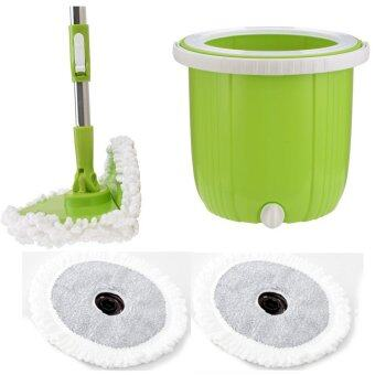 Harga Korean Advanced High Quality Spin Mop with Foldable Mop Head + Extra Replacement Mop Cloth