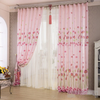 Harga Sunflower Printed Curtains Short Curtain Window Curtain Drape Panel Sheer Pink-