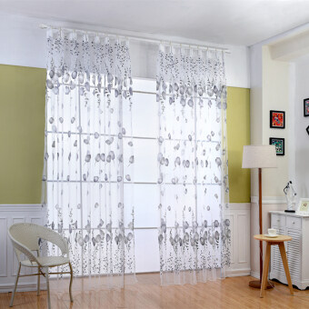 Harga 1 pcs Fashion design modern kitchen window transparent organza tulle curtains gray floral curtain room grey