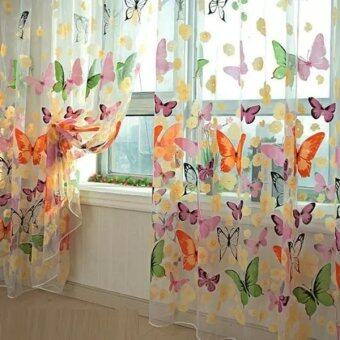 Harga New Fashion Floral Butterfly Sheer Curtains Sheers Voile Tulle Window Curtain