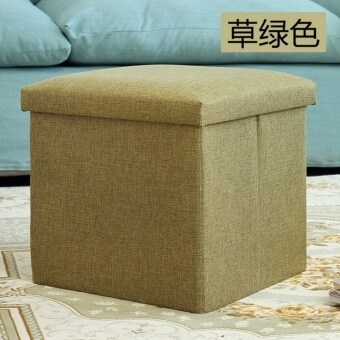 Harga Anjo Foldable Storage Ottoman Fabric Foot Stool Seat Footrest Folding Storage Box (Green)