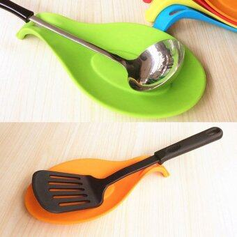 Harga 5Pcs Flexible Silicone Heat Resistant Spoon Fork Mat Rest Utensil Spatula Holder Kitchen Tool
