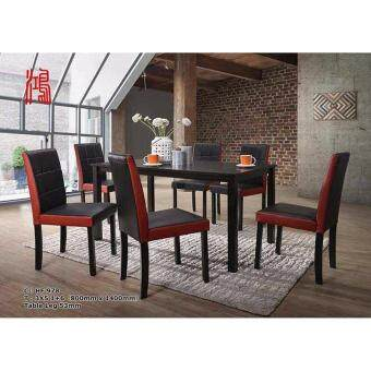Harga Kitchen Z Solid Wood Dining Table HF 978 with 6 Parson Chairs