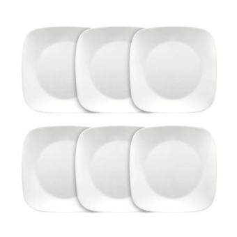 Harga New Original Corelle Livingware 6-Piece Square Pure White Dinner Plate Set