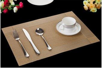 Harga 10pcs set EU STYLE Table Placemats PVC Waterproof Dining Table Kitchen (Gold)