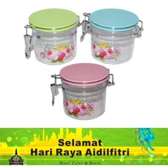 Harga [RAYA] (Set of 3) 9.5*9.5*8.5cm Biscuits Candy High Quality Container Storage (Green,Blue,Pink)