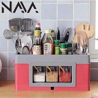 Harga NaVa XL All In 1 Kitchen Organizer Large Compartments with Spice Rack Container (RED)
