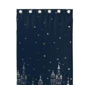 Harga 100*250CM Castle Pattern Shade Window Curtains #Navy Curtain