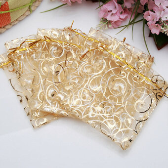 Harga 100pcs Jewelry Candy Organza Pouch Bags Wedding Party Favor Gift