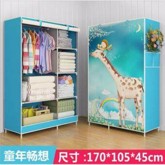 Harga Multipurpose Hanging Cloths New 3D Wardrobe (Giraffe)