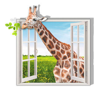Harga Leegoal High Definition Fashion Creative 3D Window Giraffe Wall Stickers