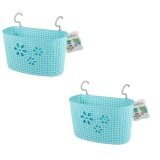 (LZ) Imitation Rattan Hanging Basket Hook Drainer Set of 2- Medium (Blue)