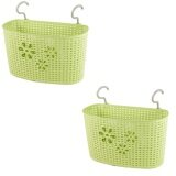 (LZ) Imitation Rattan Hanging Basket Hook Drainer Set of 2 - Medium (Green)