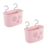 (LZ) Imitation Rattan Hanging Basket Hook Drainer Set of 2- Medium (Pink)