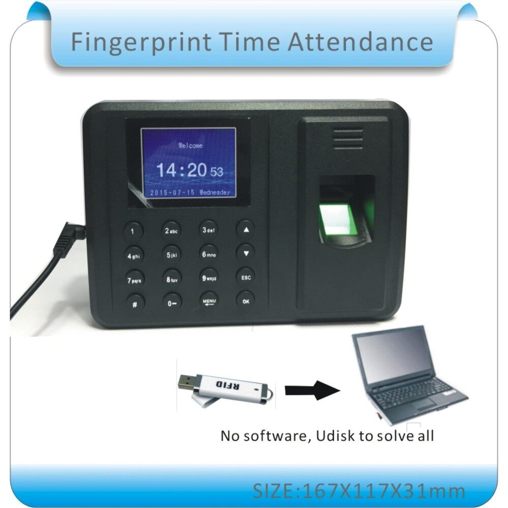 Intelligent Biometric Fingerprint Password Attendance Machine Employee Checking-in Recorder 2.4 inch TFT LCD Screen DC 5V Time Attendance Clock US PLUG