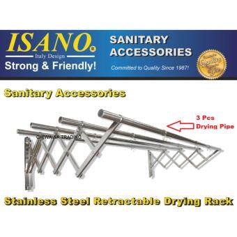 ISANO 2.0Meter with 3 Rods Solid Stainless Steel Premium Retractable Clothes Drying Rack SET 1336DR GUARANTEE NOT RUSTY