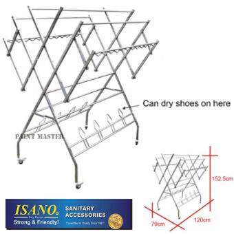 ISANO Premium W Type 100% Stainless Steel Solid Clothes Hanger / Clothes Drying Rack with Shoe Hook 1355DR