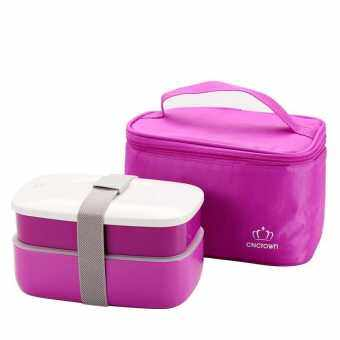 Harga Japanese Bento Lunch Box with Insulated Thermal Lunch Tote Bag Food Container Lunchbox Plastic Microwave BPA Free Purple