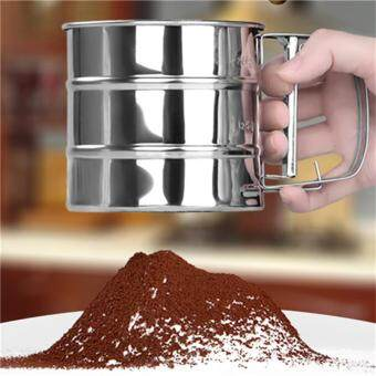 Jiayiqi 1 PCS Stainless Steel Mesh Flour Sifter Mechanical BakingIcing Sugar Shaker Sieve Tool Cup Shape