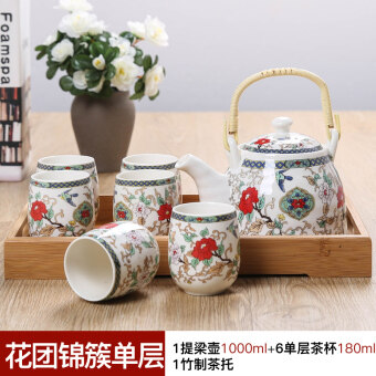 Jingdezhen Ceramic tea set package sets mention beam pot largecapacity teapot cup bamboo tray Kung Fu tea
