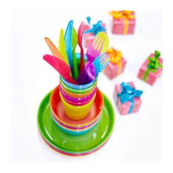 Harga KALAS SET 36 pcs: Kids Plastic BPA Free Flatware, Bowl, Plate,Tumbler Set, Colorful assorted colours