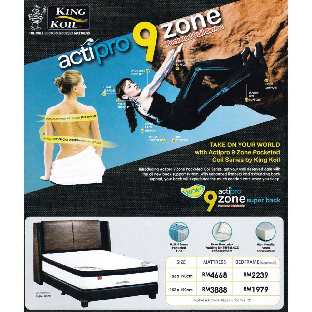 King Koil 9 Zone Acti-Pro 13 inch Pocketed Coil Spring Mattress With 10 Years Warranty (Pre-Order 2 Weeks)