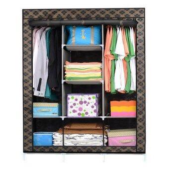 King Size Multifunctional Wardrobe - Checkered Black Design