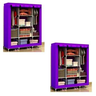 Harga King Size Multifunctional Wardrobe Purple (2 Units)