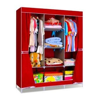 Harga King Sized Curtain Wardrobe - Red
